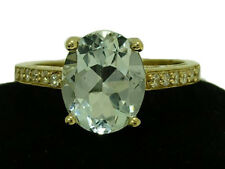 R169 - Genuine 9ct Solid Yellow Gold NATURAL Aquamarine & Diamond Ring size O