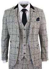 Mens Tweed Light Grey Black Check Herringbone Tweed Vintage Retro 3 Piece Suit