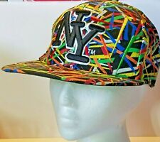 New York Cap Embossed City Hunter Authentic Headwear M Flat Multi Colored Needle