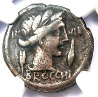 Roman Republic L. Fur. Brocchus AR Denarius Coin 63 BC - Certified NGC Fine