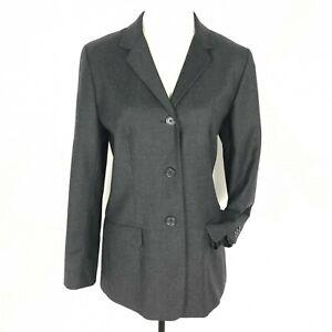 Ann Taylor Women Blazer Wool Pockets 3 Button Front Grey Career Size 10