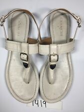 COACH Women's Size 10 Patent Leather Ivory Cassidy Buckle Sandals #1419