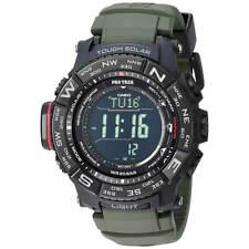 Casio мужские часы Pro Trek цифровой циферблат, зеленый силиконовый ремешок PRW3510Y-8