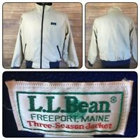 LL BEAN JACKET THREE SEASON MEN S BOMBER TAN SZ LARGE FULL ZIP VINTAGE MADE USA