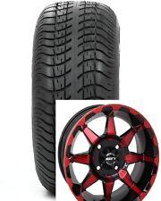 "(4) STi 14"" Red Blue Orange HD6 Aluminum Golf Cart Car Wheels & Low Profile Tire"