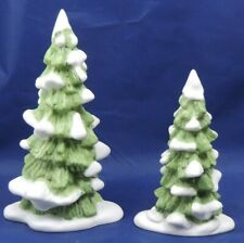 """Department 56 Set of 2 Porcelain Snow Capped Pine Trees 5 1/2"""" & 7 1/2"""" 6537-4"""