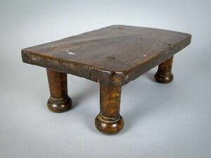19th Century Oak Candle Stand / Country Stool.