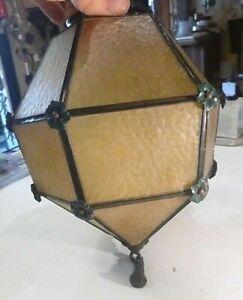 Fabulous Lightolier Cast Iron Pebbled Geodesic Amber Glass Shade Ceiling Fixture