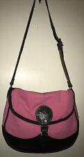 Duluth Trading pink canvas w/black leather trim messenger bag
