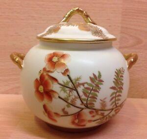 "Victorian Royal Worcester ""Floral Study"" Ivory Ground Lidded Bowl 1888."