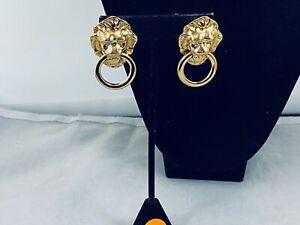 VTG. KJL KENNETH JAY LANE FOR AVON GOLD TONE LION'S HEAD DOOR KNOCKER EARRINGS