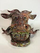 Ceramic Dragon Head Sculpture - Raku - Damaged/Repaired
