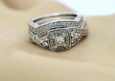 Engagement Ring Wedding Set 14kt White Gold With 0.50ctw Diamonds Size 5