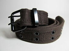 "Men Black Buckle Fabric Two Hole Brown Belt S 30 - 32"" #790B"