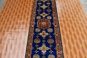 Oriental Carpet Décor Corridor Small Rug Hand Made 2'x6' Blue Color Wool Rugs