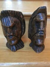 Mancave Mid century modern Busts Set Of 2 Solid Wood Deep Carvings