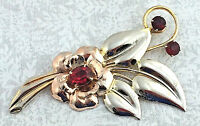ANTIQUE .925 2-TONE STERLING SILVER & RED RHINESTONE, FLORAL BROOCH / PIN