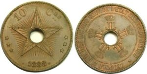 elf Congo Free State 10 Centimes 1888 Star