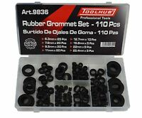 Tool Hub 9836 Grommet Set Rubber Blanking Open Assorted Sizes 110 Pieces