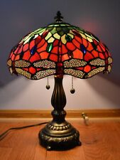 DALE TIFFANY JEWELED DRAGONFLY TABLE LAMP SIGNED