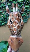 Art mask head tribal giraffe zoo safari jungle wood hand carve hang garden wall