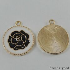 50990 Black&Gold Alloy Flower Pattern Round Jewelry Charms Crafts Pendants 11x