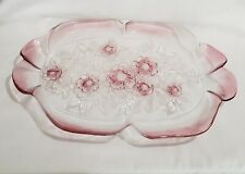Mikasa Rosella large glass serving plater  ruffled edge pink Satin Fancy tray