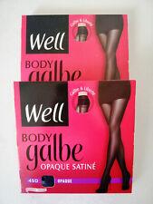 LOT DE 2 COLLANTS WELL BODY GALBE OPAQUE SATINE 45 DEN TAILLE 1 NOIR