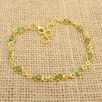 Cut Peridot 925 Sterling Silver Gold Plated Bracelet Indian Jewellery
