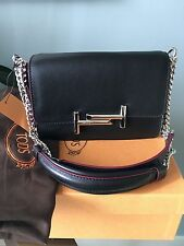 'CLEARANCE nwt tod's double t & chain crossbody shoulder bag  black $1765