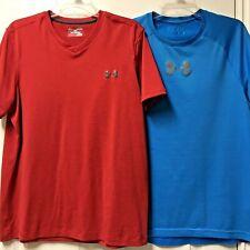 Under Armour Men's Loose Heat Gear Shirts Medium Red Blue Lot of 2 (A)