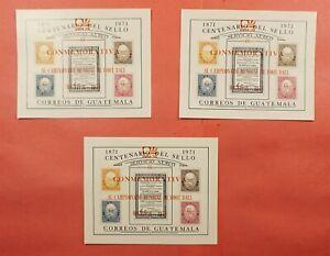 (3) 1974 GUATEMALA #C458a RED OVERPRINT SOCCER S/S MNH