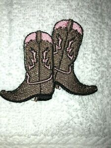 Embroidered White Cotton Bathroom Hand Towel Western Boots Pink and Brown HS1694