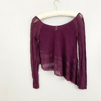 FREE PEOPLE Womens CAROSEL UP AND DOWN Asymmetrical Top Purple Lace Size XS