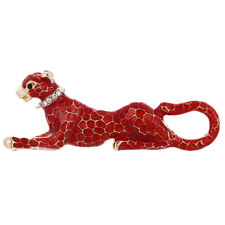Fashion Crystal Red Leopard Brooch Pin Collar Badge Corsage Jewelry ME