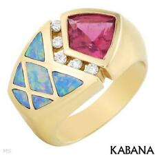 Kabana Made USA 14K Gold Ring With 1.35 ctw Rubellite & Diamonds. Size 6.5. New