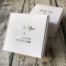 40 White Wedding Favor Boxes Personalised Silver Foil Party Christening Gift Box