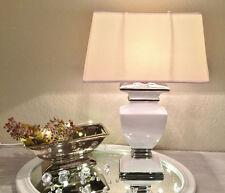 WHITE LADY Keramik Lampe 36cm Lampenfuß Lampenschirm Weiß Nachttischlampe Shabby