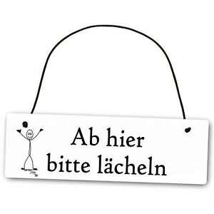 Metallschild Ab hier bitte lächeln 25 x 8 cm aus Alu Verbund (Alu, Kunststoff) f