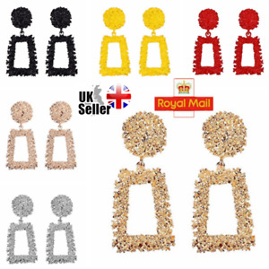 UK Fashion Square Extra Large Geometric Earrings Gold Silver Metal Dangle Trendy