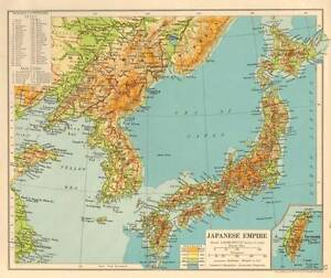 The Japanese Empire 1930 Original Antique Map Shanghai Taiwan