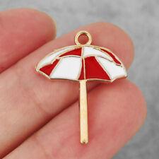 10pcs Antique Gold Enamel Red White Umbrella Charm Pendant Fit Necklace Making
