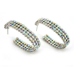 4cm Long Big Hoop Twinkling Czech AB Crystal Earrings