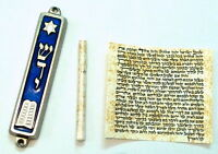 Metal MEZUZAH Decalogue/Torah/Bible Design With Non Kosher PARCHMENT Klaf/Scroll