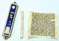 Metal MEZUZAH Decalogue/Torah/Bible Design With Non Kosher PARCHMENT Klaf/Scroll