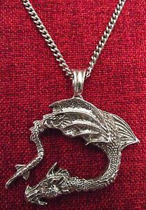 Celtic Dragon Flying Pendant Medieval Pendragon Smaug Silver Pewter Necklace