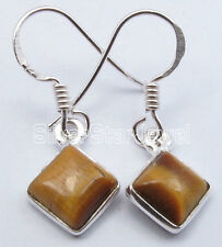"French Hook Square Earrings 1 1/8"" 925 Sterling Silver Brown Tiger'S Eye"