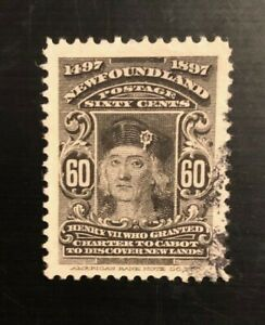 Stamps Canada Newfoundland Sc74 60c black Henry Vii, 1897 issue see description