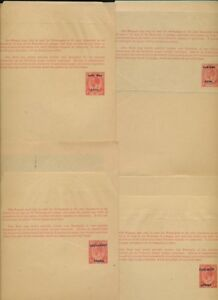 SOUTH WEST AFRICA KG5 STATIONERY WRAPPERS 1d 4 DIFF.ENGLISH +AFRIKAANS OPTS FINE