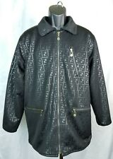 FENDI Italy Gilmar Jacket Monogram All Over Print Embroidered REVERSIBLE Vintage
